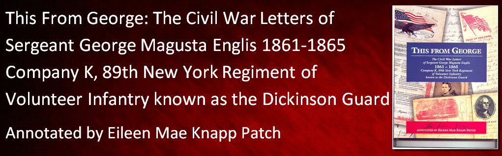 ... 1861-1865 Company K, 89th New York Regiment of Volunteer Infantry known as the Dickinson Guard Annotated by Eileen Mae Knapp Patch The letters are a brief history of service in the 89th New York Regiment from 1861 until 1865 as seen through the eyes of a Corbettsville farm boy. Softbound, illus., maps, genealogies, index, 288 pgs., 2001. Price: $25.00. With sales tax: $27.00.