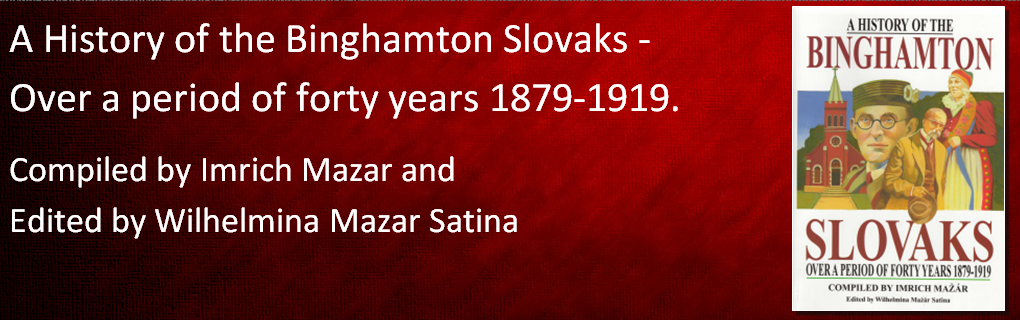 The history of Slovaks in the Greater Binghamton area, from 1879-1919. This book is a translation from the original Slovak. Softbound, photo., 324 pgs., 2003. Price: $34.95. With sales tax: $37.75.